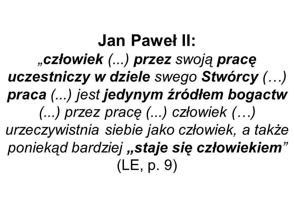 Jan Paweł II:człowiek (...) przez swoją pracę uczestniczy w dziele swego Stwórcy (…) praca (...) jest jedynym źródłem bogactw (...) przez pracę (...)