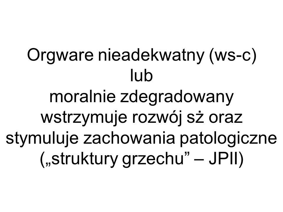 Orgware nieadekwatny (ws-c) lub moralnie zdegradowany wstrzymuje rozwój sż oraz stymuluje zachowania patologiczne (struktury grzechu – JPII)