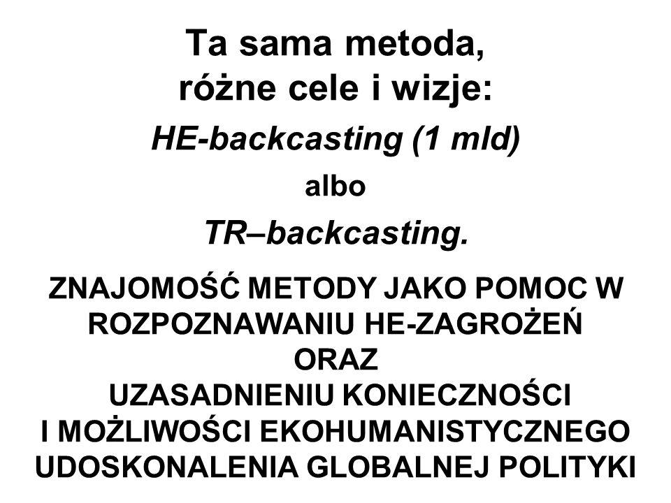 Ta sama metoda, różne cele i wizje: HE-backcasting (1 mld) albo TR–backcasting. ZNAJOMOŚĆ METODY JAKO POMOC W ROZPOZNAWANIU HE-ZAGROŻEŃ ORAZ UZASADNIE