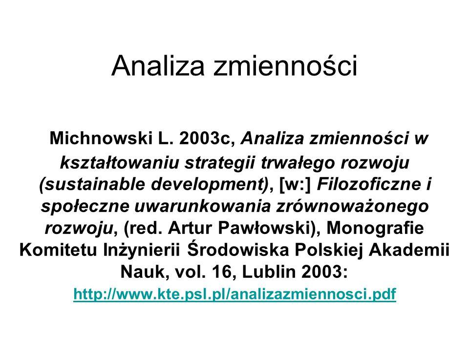 Analiza zmienności Michnowski L. 2003c, Analiza zmienności w kształtowaniu strategii trwałego rozwoju (sustainable development), [w:] Filozoficzne i s