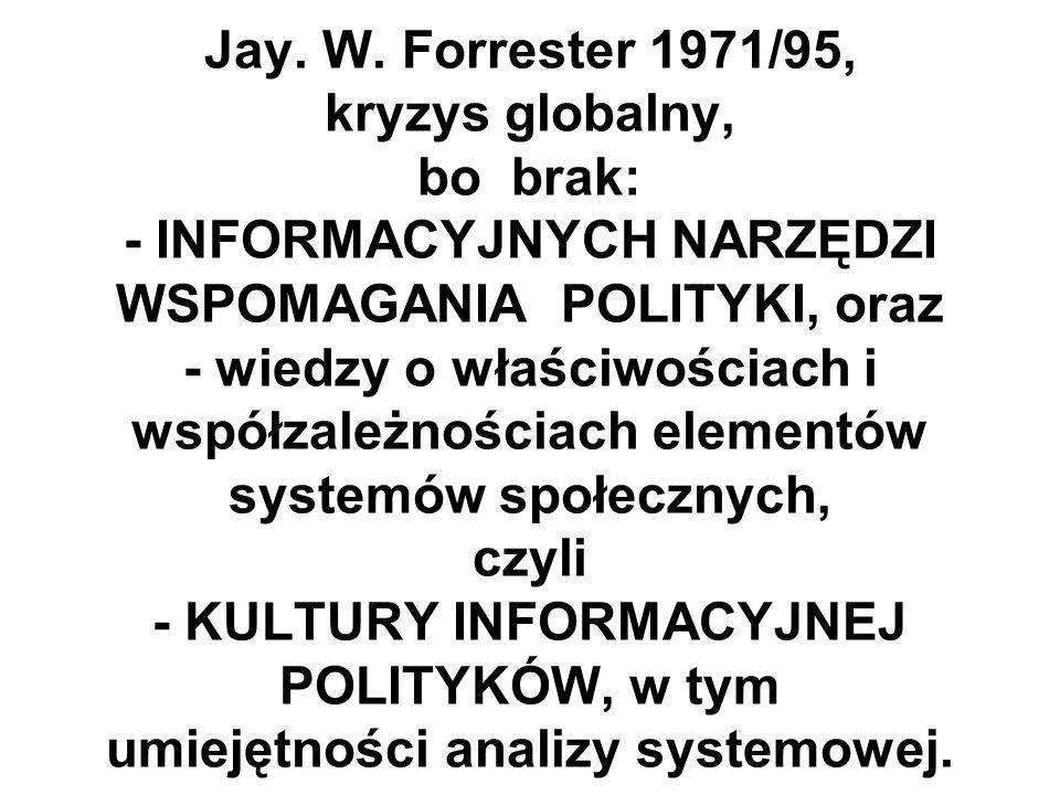 Jay. W. Forrester 1971/95, kryzys globalny, bo brak: - INFORMACYJNYCH NARZĘDZI WSPOMAGANIA POLITYKI, oraz - wiedzy o właściwościach i współzależnościa