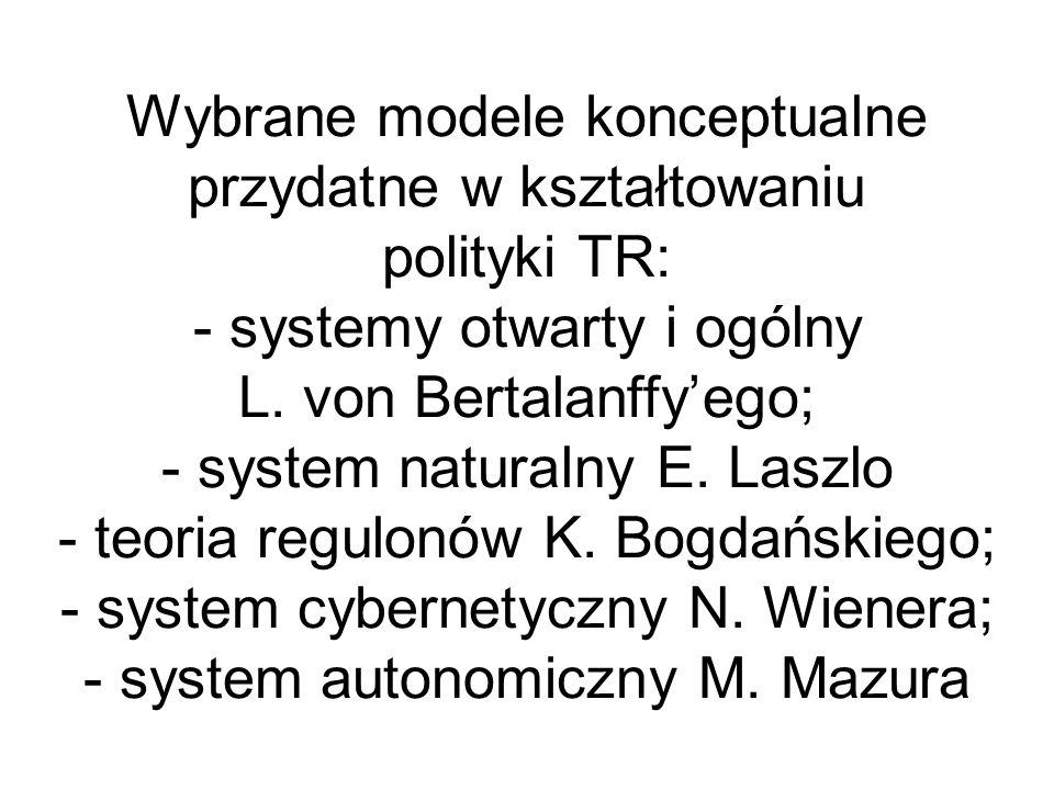 Wybrane modele konceptualne przydatne w kształtowaniu polityki TR: - systemy otwarty i ogólny L. von Bertalanffyego; - system naturalny E. Laszlo - te
