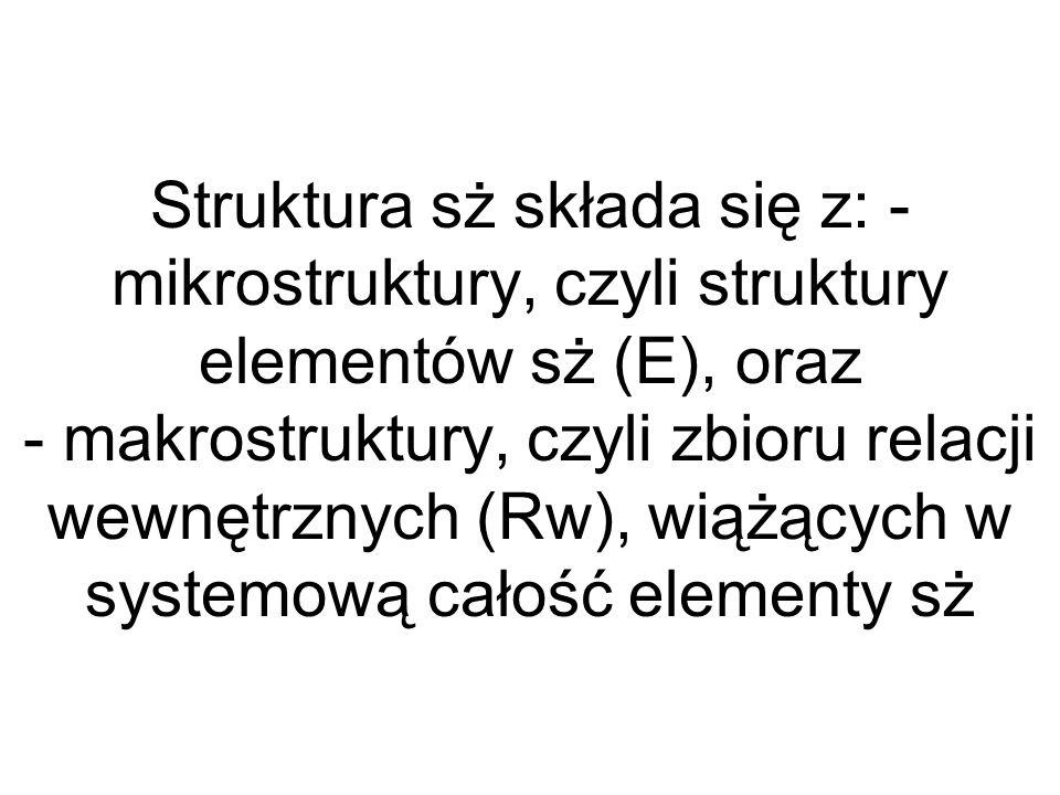 Struktura sż składa się z: - mikrostruktury, czyli struktury elementów sż (E), oraz - makrostruktury, czyli zbioru relacji wewnętrznych (Rw), wiążącyc