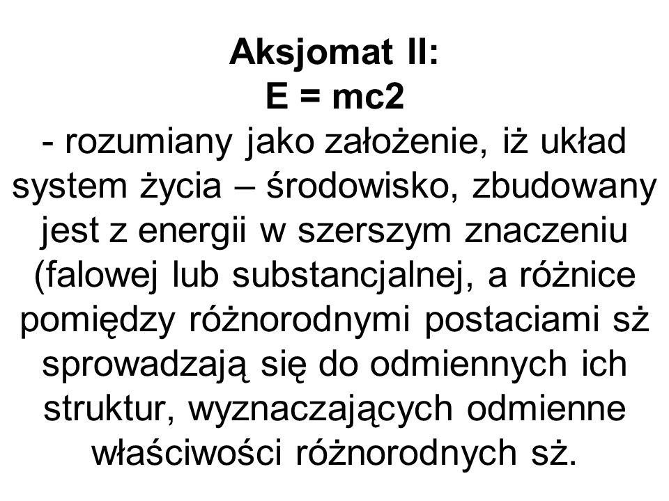 Aksjomat II: E = mc2 - rozumiany jako założenie, iż układ system życia – środowisko, zbudowany jest z energii w szerszym znaczeniu (falowej lub substa