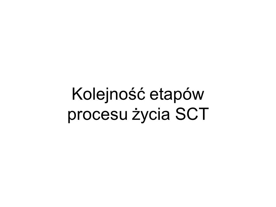 Kolejność etapów procesu życia SCT