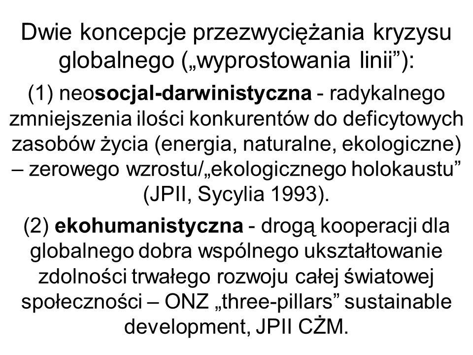 Dwie koncepcje przezwyciężania kryzysu globalnego (wyprostowania linii): (1) neosocjal-darwinistyczna - radykalnego zmniejszenia ilości konkurentów do