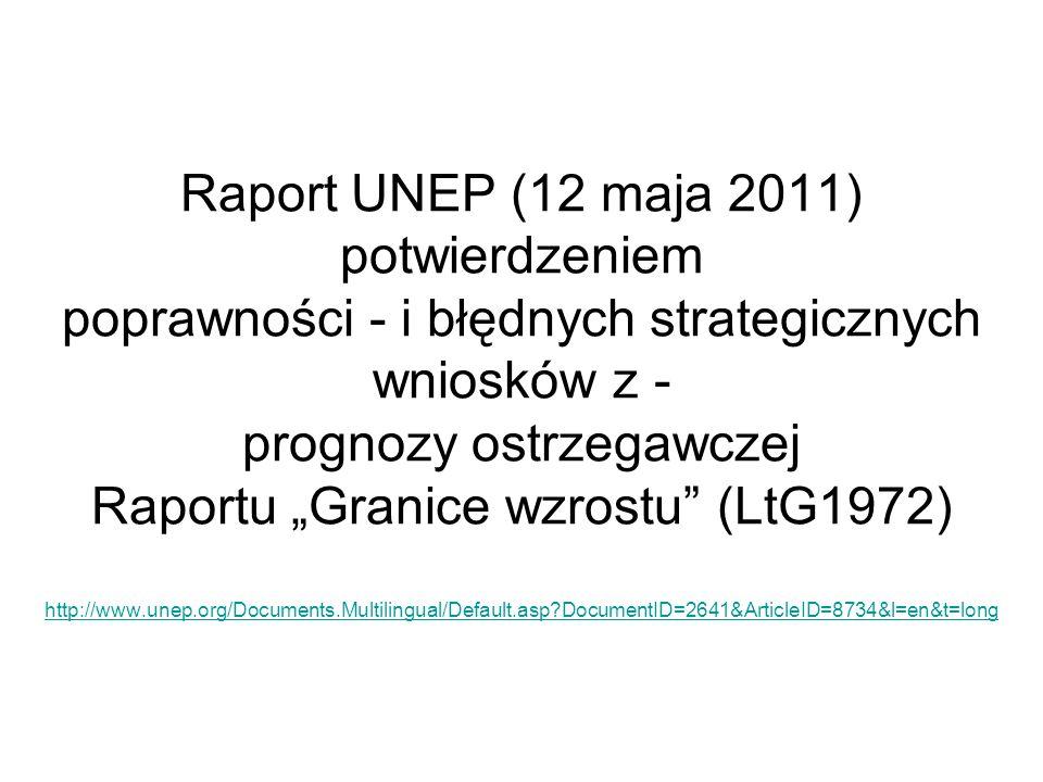 Raport UNEP (12 maja 2011) potwierdzeniem poprawności - i błędnych strategicznych wniosków z - prognozy ostrzegawczej Raportu Granice wzrostu (LtG1972