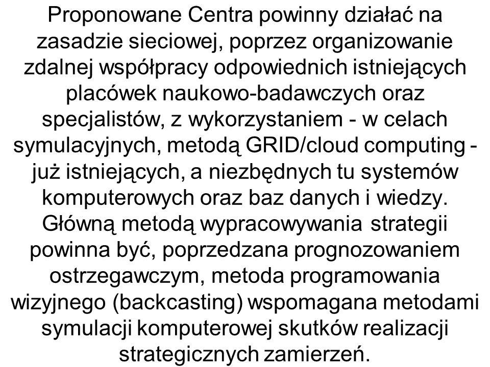 Proponowane Centra powinny działać na zasadzie sieciowej, poprzez organizowanie zdalnej współpracy odpowiednich istniejących placówek naukowo-badawczy