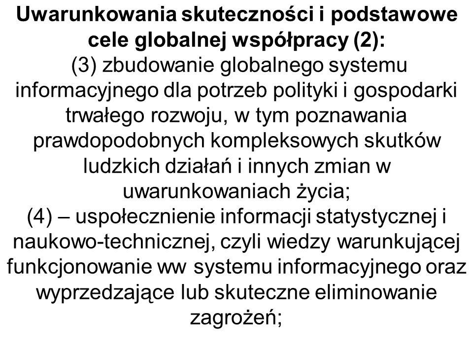 Uwarunkowania skuteczności i podstawowe cele globalnej współpracy (2): (3) zbudowanie globalnego systemu informacyjnego dla potrzeb polityki i gospoda
