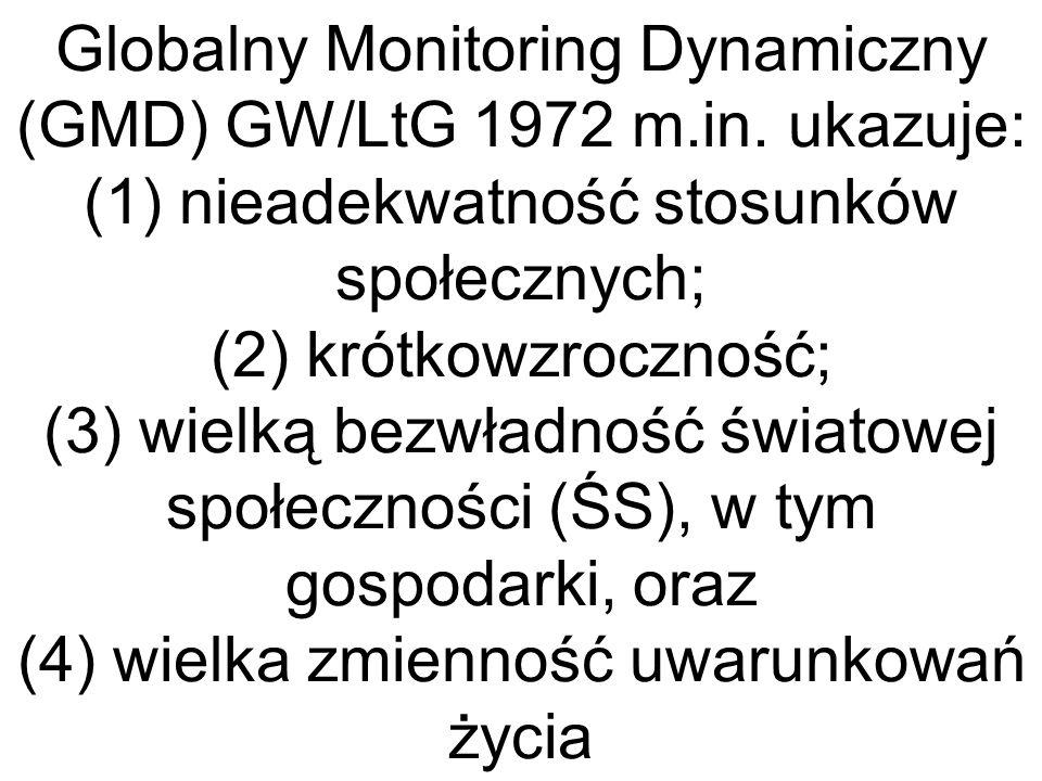 Globalny Monitoring Dynamiczny (GMD) GW/LtG 1972 m.in. ukazuje: (1) nieadekwatność stosunków społecznych; (2) krótkowzroczność; (3) wielką bezwładność