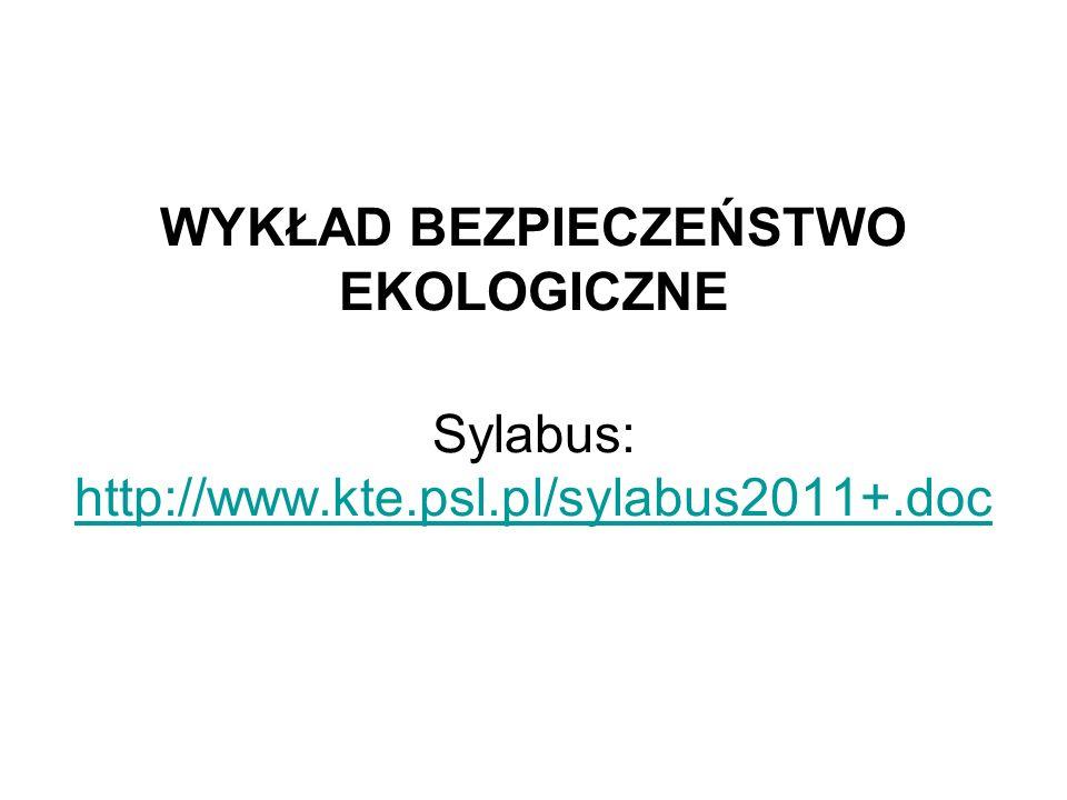 Kultura informacyjna w kształtowaniu bezpieczeństwa ekologicznego Wykład V 27 II 2011