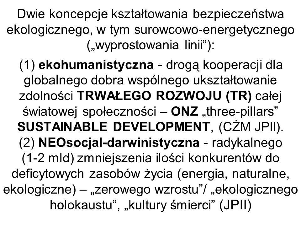 Dwie koncepcje kształtowania bezpieczeństwa ekologicznego, w tym surowcowo-energetycznego (wyprostowania linii): (1) ekohumanistyczna - drogą kooperac