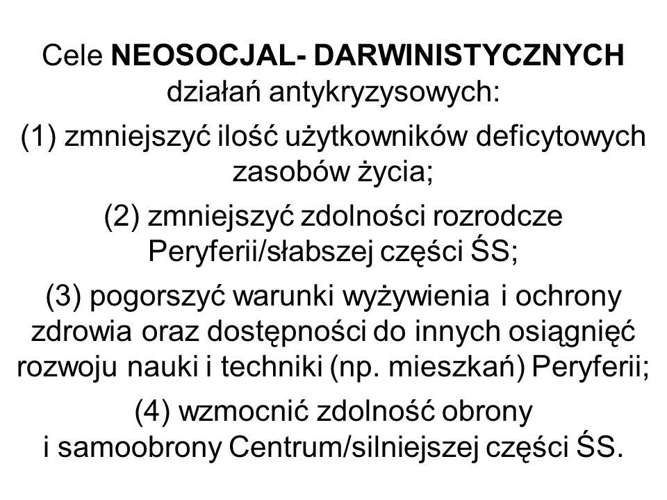 Cele NEOSOCJAL- DARWINISTYCZNYCH działań antykryzysowych: (1) zmniejszyć ilość użytkowników deficytowych zasobów życia; (2) zmniejszyć zdolności rozro