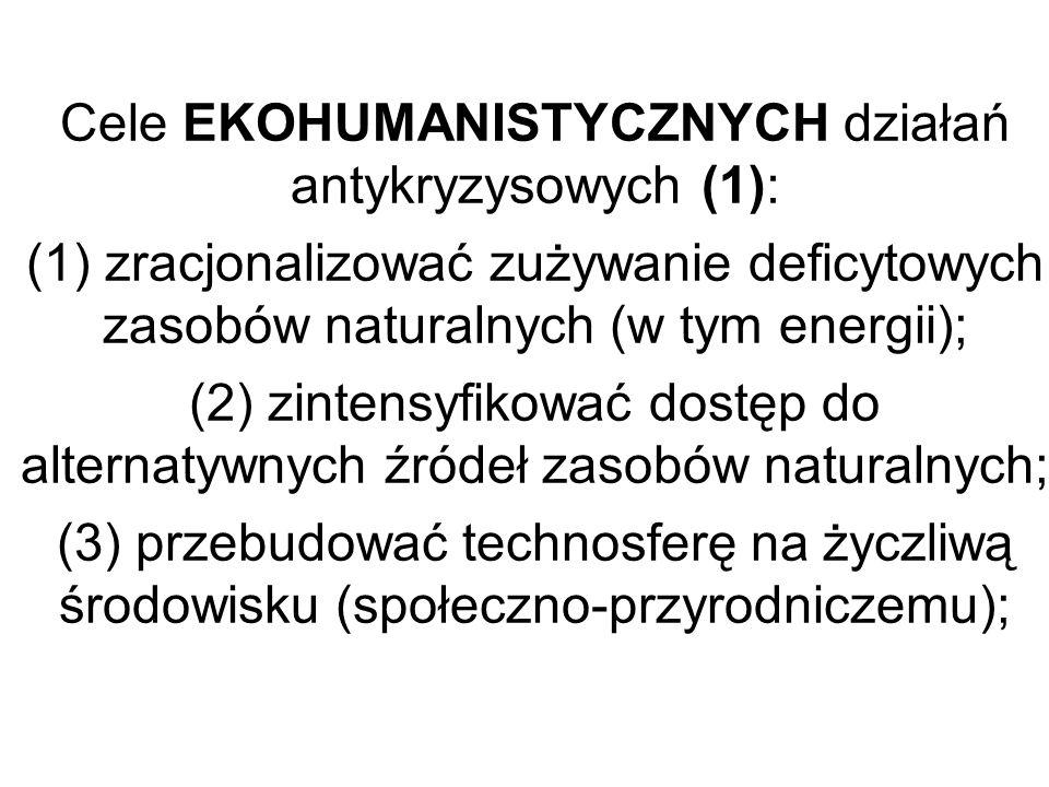 Cele EKOHUMANISTYCZNYCH działań antykryzysowych (1): (1) zracjonalizować zużywanie deficytowych zasobów naturalnych (w tym energii); (2) zintensyfikow