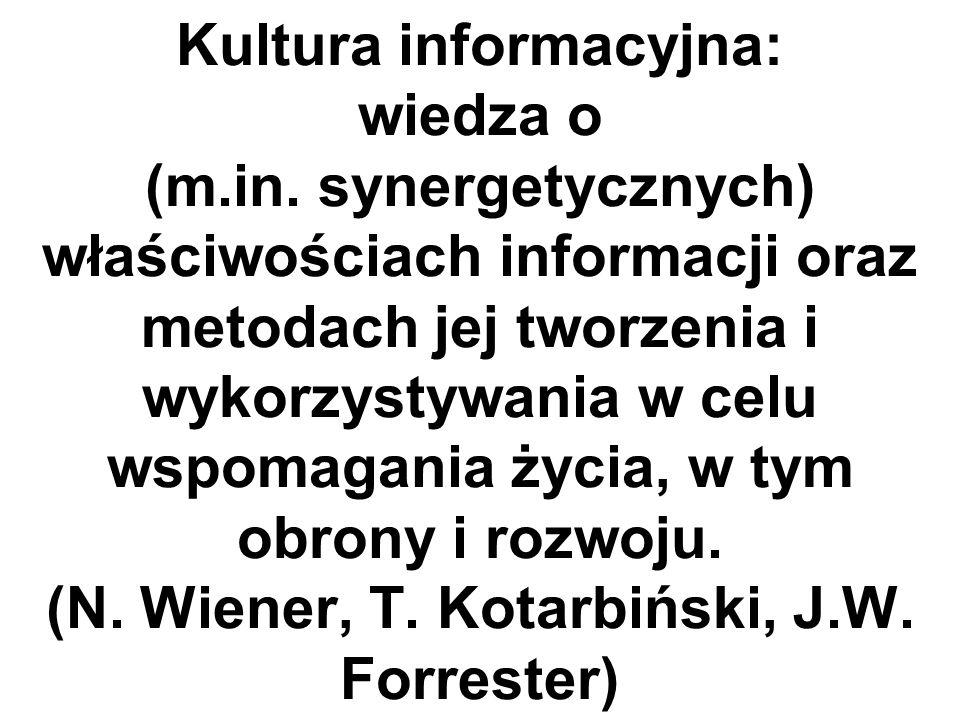 Podstawowe właściwości informacji odwz.: - efekt synergiczny (czyli skokowy wzrost poziomu informacji) jako skutek integrowania uzupełniających się informacji; - straty informacji występują w kanale informacyjnym oraz wraz z upływem czasu; - przekazanie informacji nie pozbawia jej dotychczasowego posiadacza informacji.