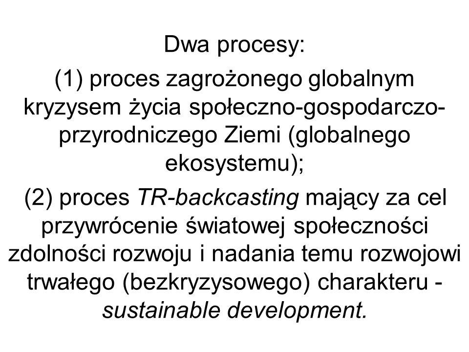 Dwa procesy: (1) proces zagrożonego globalnym kryzysem życia społeczno-gospodarczo- przyrodniczego Ziemi (globalnego ekosystemu); (2) proces TR-backca