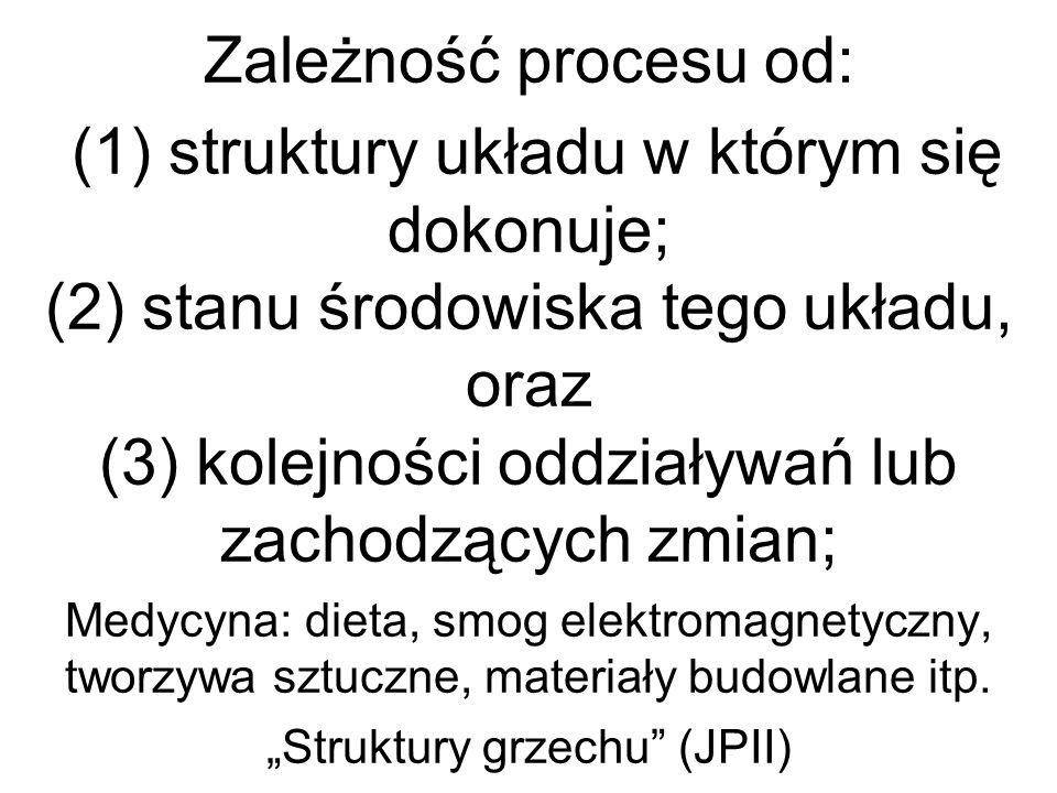 Zależność procesu od: (1) struktury układu w którym się dokonuje; (2) stanu środowiska tego układu, oraz (3) kolejności oddziaływań lub zachodzących z