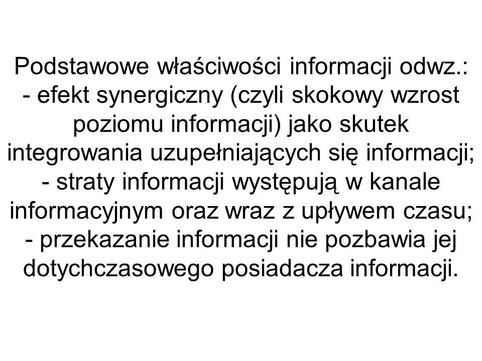Podstawowe właściwości informacji odwz.: - efekt synergiczny (czyli skokowy wzrost poziomu informacji) jako skutek integrowania uzupełniających się in
