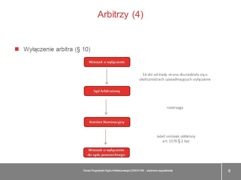 Arbitrzy (4) Wyłączenie arbitra (§ 10) 8 Nowy Regulamin Sądu Arbitrażowego LEWIATAN - wybrane zagadnienia Wniosek o wyłączenie Sąd Arbitrażowy Komitet