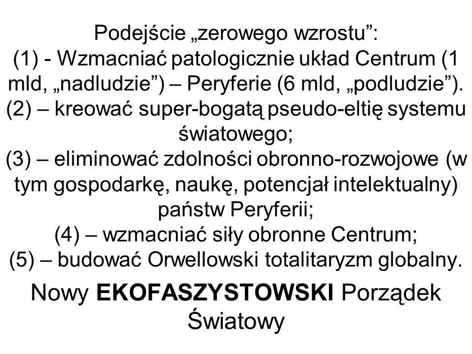 Podejście zerowego wzrostu: (1) - Wzmacniać patologicznie układ Centrum (1 mld, nadludzie) – Peryferie (6 mld, podludzie).