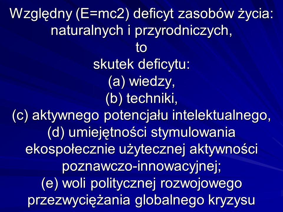 Względny (E=mc2) deficyt zasobów życia: naturalnych i przyrodniczych, to skutek deficytu: (a) wiedzy, (b) techniki, (c) aktywnego potencjału intelektualnego, (d) umiejętności stymulowania ekospołecznie użytecznej aktywności poznawczo-innowacyjnej; (e) woli politycznej rozwojowego przezwyciężania globalnego kryzysu