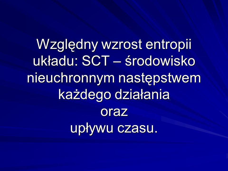 Względny wzrost entropii układu: SCT – środowisko nieuchronnym następstwem każdego działania oraz upływu czasu.