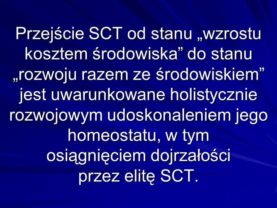 Przejście SCT od stanu wzrostu kosztem środowiska do stanu rozwoju razem ze środowiskiem jest uwarunkowane holistycznie rozwojowym udoskonaleniem jego homeostatu, w tym osiągnięciem dojrzałości przez elitę SCT.