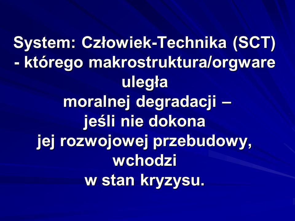 System: Człowiek-Technika (SCT) - którego makrostruktura/orgware uległa moralnej degradacji – jeśli nie dokona jej rozwojowej przebudowy, wchodzi w stan kryzysu.