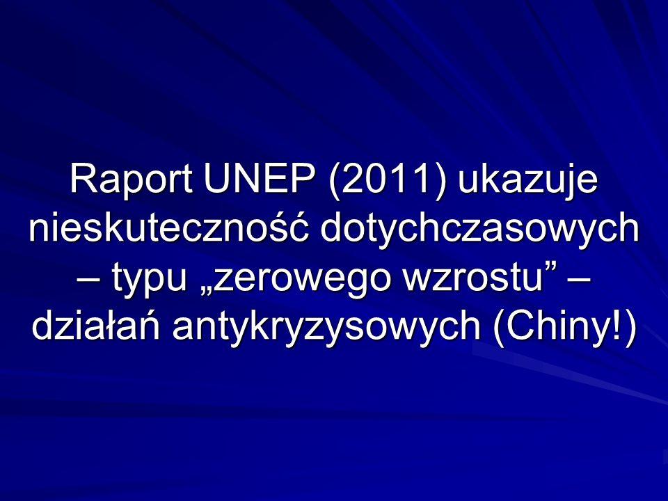 Raport UNEP (2011) ukazuje nieskuteczność dotychczasowych – typu zerowego wzrostu – działań antykryzysowych (Chiny!)