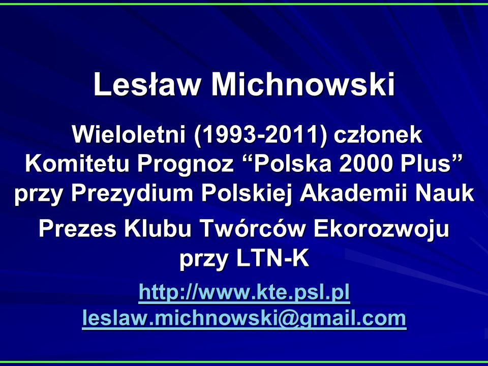 Lesław Michnowski Wieloletni (1993-2011) członek Komitetu Prognoz Polska 2000 Plus przy Prezydium Polskiej Akademii Nauk Prezes Klubu Twórców Ekorozwoju przy LTN-K http://www.kte.psl.pl leslaw.michnowski@gmail.com http://www.kte.psl.pl leslaw.michnowski@gmail.com http://www.kte.psl.pl leslaw.michnowski@gmail.com