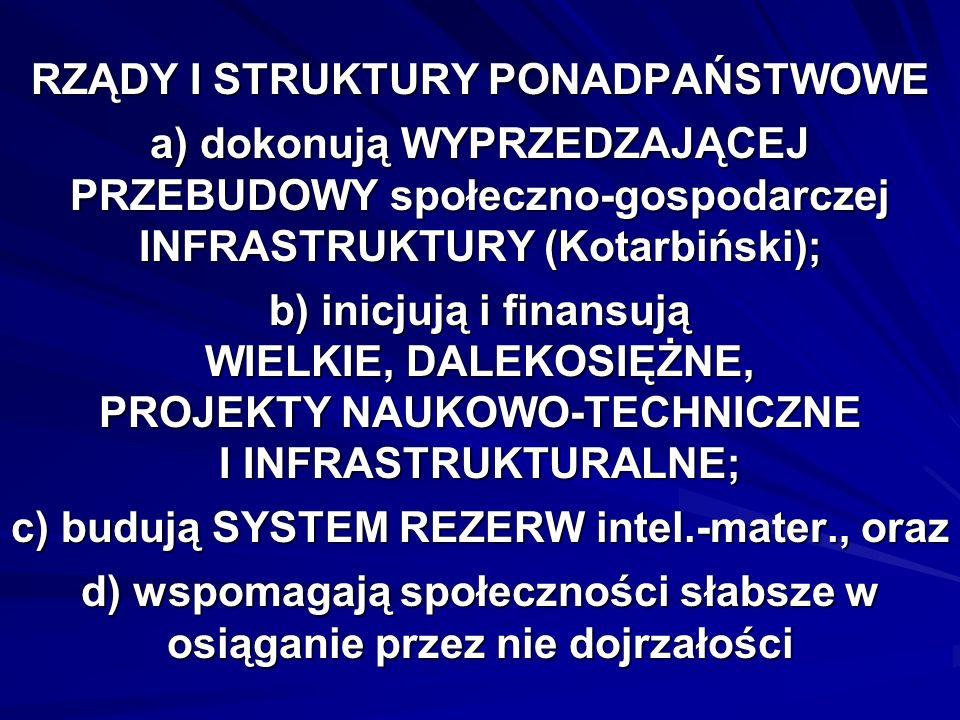 RZĄDY I STRUKTURY PONADPAŃSTWOWE a) dokonują WYPRZEDZAJĄCEJ PRZEBUDOWY społeczno-gospodarczej INFRASTRUKTURY (Kotarbiński); b) inicjują i finansują WIELKIE, DALEKOSIĘŻNE, PROJEKTY NAUKOWO-TECHNICZNE I INFRASTRUKTURALNE; c) budują SYSTEM REZERW intel.-mater., oraz d) wspomagają społeczności słabsze w osiąganie przez nie dojrzałości