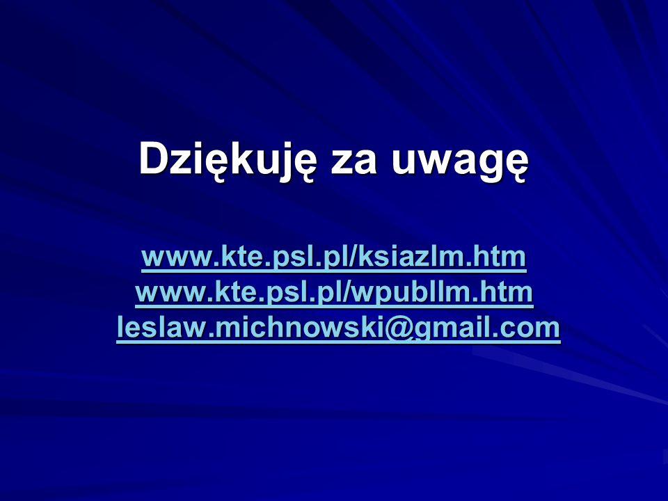 Dziękuję za uwagę www.kte.psl.pl/ksiazlm.htm www.kte.psl.pl/wpubllm.htm leslaw.michnowski@gmail.com www.kte.psl.pl/ksiazlm.htm www.kte.psl.pl/wpubllm.htmleslaw.michnowski@gmail.com www.kte.psl.pl/ksiazlm.htm www.kte.psl.pl/wpubllm.htmleslaw.michnowski@gmail.com
