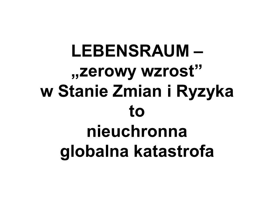 LEBENSRAUM – zerowy wzrost w Stanie Zmian i Ryzyka to nieuchronna globalna katastrofa