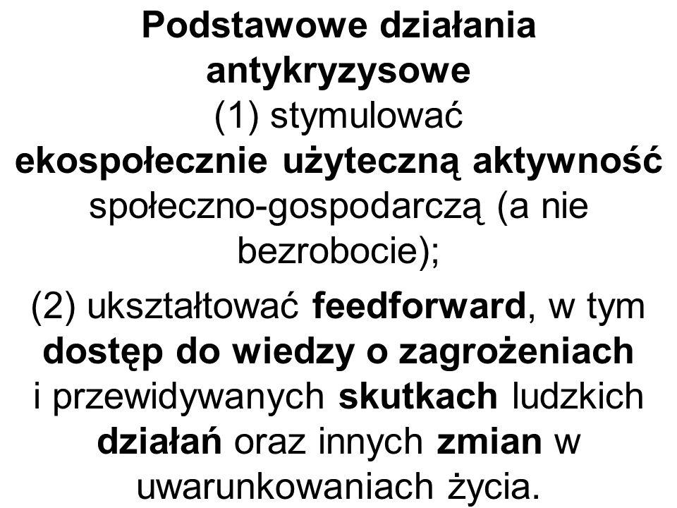 Podstawowe działania antykryzysowe (1) stymulować ekospołecznie użyteczną aktywność społeczno-gospodarczą (a nie bezrobocie); (2) ukształtować feedfor