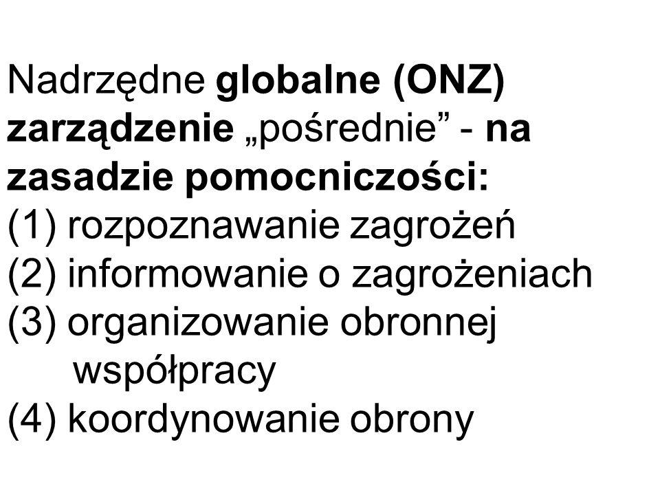 Nadrzędne globalne (ONZ) zarządzenie pośrednie - na zasadzie pomocniczości: (1) rozpoznawanie zagrożeń (2) informowanie o zagrożeniach (3) organizowan