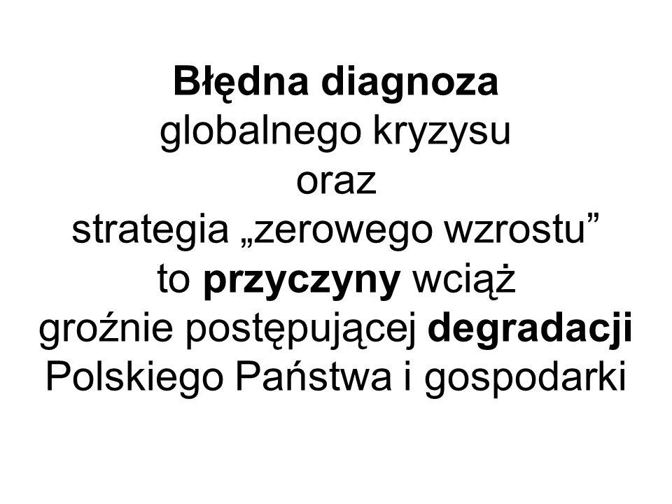 Błędna diagnoza globalnego kryzysu oraz strategia zerowego wzrostu to przyczyny wciąż groźnie postępującej degradacji Polskiego Państwa i gospodarki