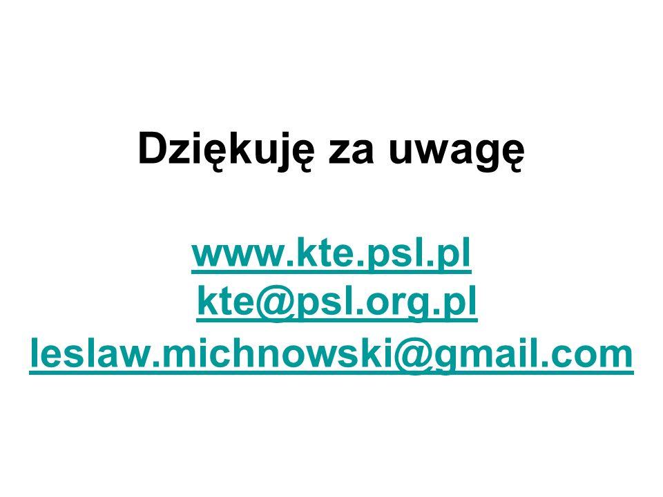 Dziękuję za uwagę www.kte.psl.pl kte@psl.org.pl leslaw.michnowski@gmail.com www.kte.psl.plkte@psl.org.pl leslaw.michnowski@gmail.com