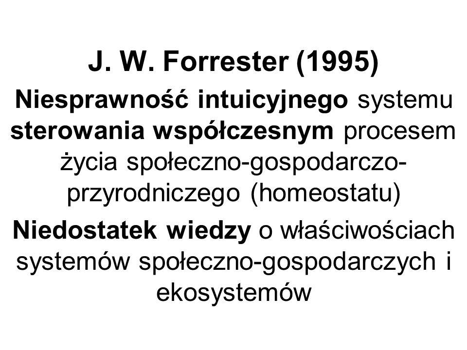 J. W. Forrester (1995) Niesprawność intuicyjnego systemu sterowania współczesnym procesem życia społeczno-gospodarczo- przyrodniczego (homeostatu) Nie