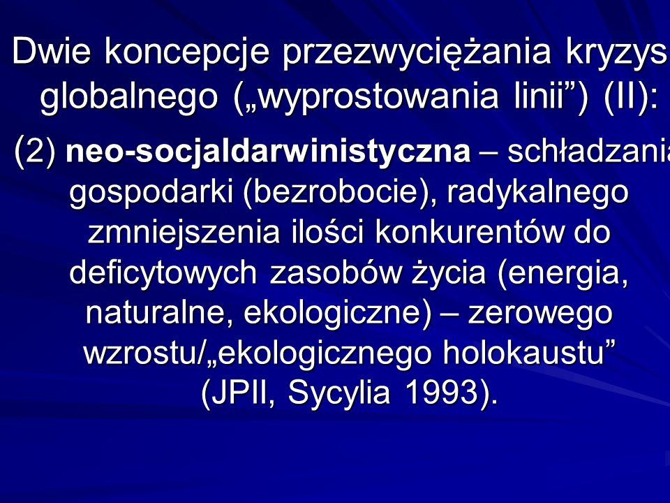 Dwie koncepcje przezwyciężania kryzysu globalnego (wyprostowania linii) (II): ( 2) neo-socjaldarwinistyczna – schładzania gospodarki (bezrobocie), rad
