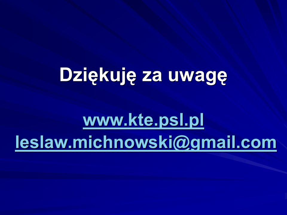 Dziękuję za uwagę www.kte.psl.pl leslaw.michnowski@gmail.com www.kte.psl.plleslaw.michnowski@gmail.com www.kte.psl.plleslaw.michnowski@gmail.com