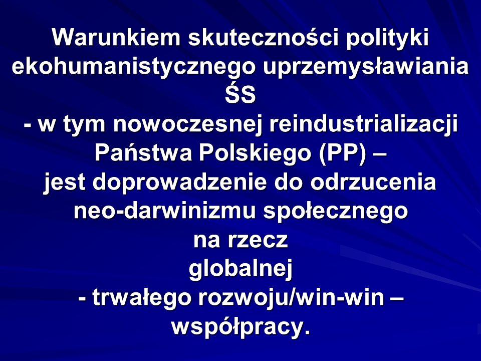 Warunkiem skuteczności polityki ekohumanistycznego uprzemysławiania ŚS - w tym nowoczesnej reindustrializacji Państwa Polskiego (PP) – jest doprowadzenie do odrzucenia neo-darwinizmu społecznego na rzecz globalnej - trwałego rozwoju/win-win – współpracy.