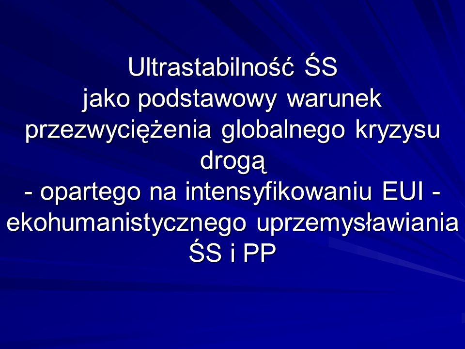 Ultrastabilność ŚS jako podstawowy warunek przezwyciężenia globalnego kryzysu drogą - opartego na intensyfikowaniu EUI - ekohumanistycznego uprzemysławiania ŚS i PP