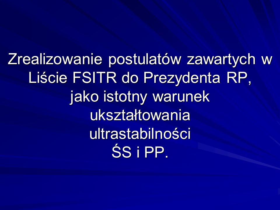 Zrealizowanie postulatów zawartych w Liście FSITR do Prezydenta RP, jako istotny warunek ukształtowania ultrastabilności ŚS i PP.