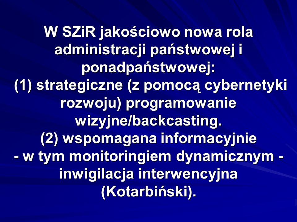 W SZiR jakościowo nowa rola administracji państwowej i ponadpaństwowej: (1) strategiczne (z pomocą cybernetyki rozwoju) programowanie wizyjne/backcast