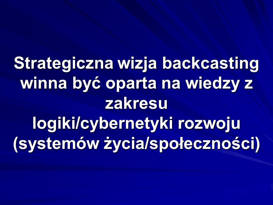 Strategiczna wizja backcasting winna być oparta na wiedzy z zakresu logiki/cybernetyki rozwoju (systemów życia/społeczności)