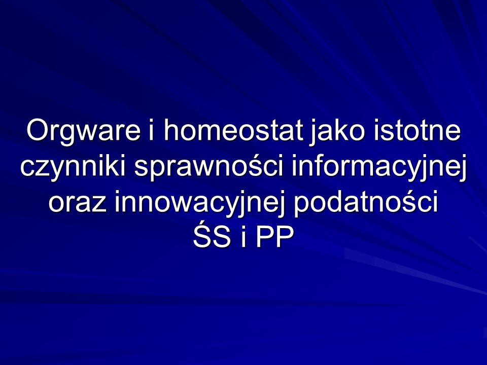Orgware i homeostat jako istotne czynniki sprawności informacyjnej oraz innowacyjnej podatności ŚS i PP
