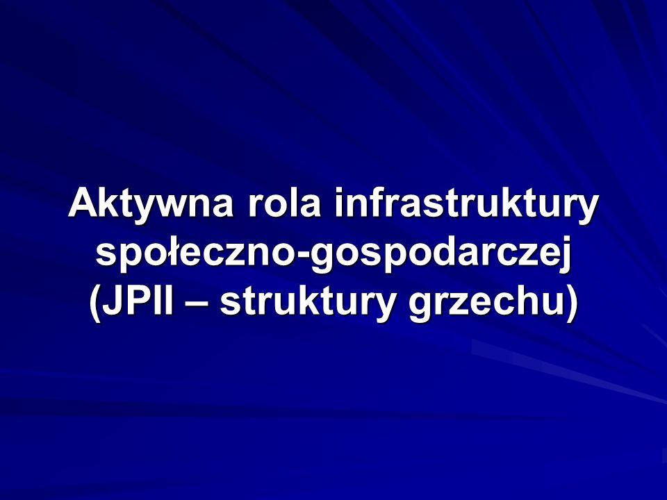 Aktywna rola infrastruktury społeczno-gospodarczej (JPII – struktury grzechu)