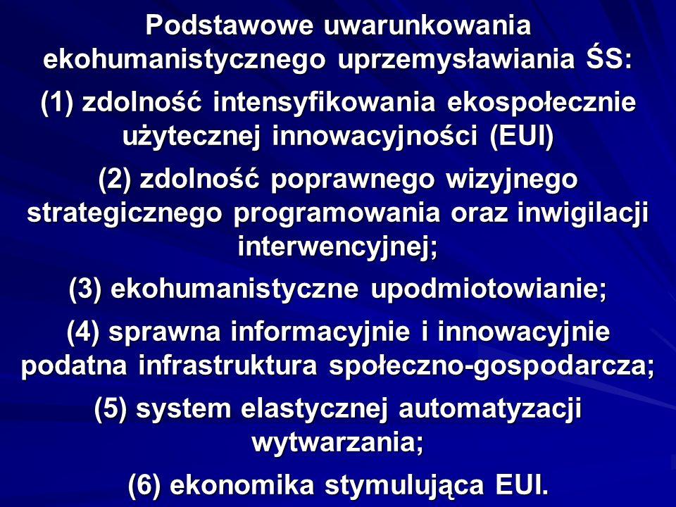 Podstawowe uwarunkowania ekohumanistycznego uprzemysławiania ŚS: (1) zdolność intensyfikowania ekospołecznie użytecznej innowacyjności (EUI) (2) zdolność poprawnego wizyjnego strategicznego programowania oraz inwigilacji interwencyjnej; (3) ekohumanistyczne upodmiotowianie; (4) sprawna informacyjnie i innowacyjnie podatna infrastruktura społeczno-gospodarcza; (5) system elastycznej automatyzacji wytwarzania; (6) ekonomika stymulująca EUI.