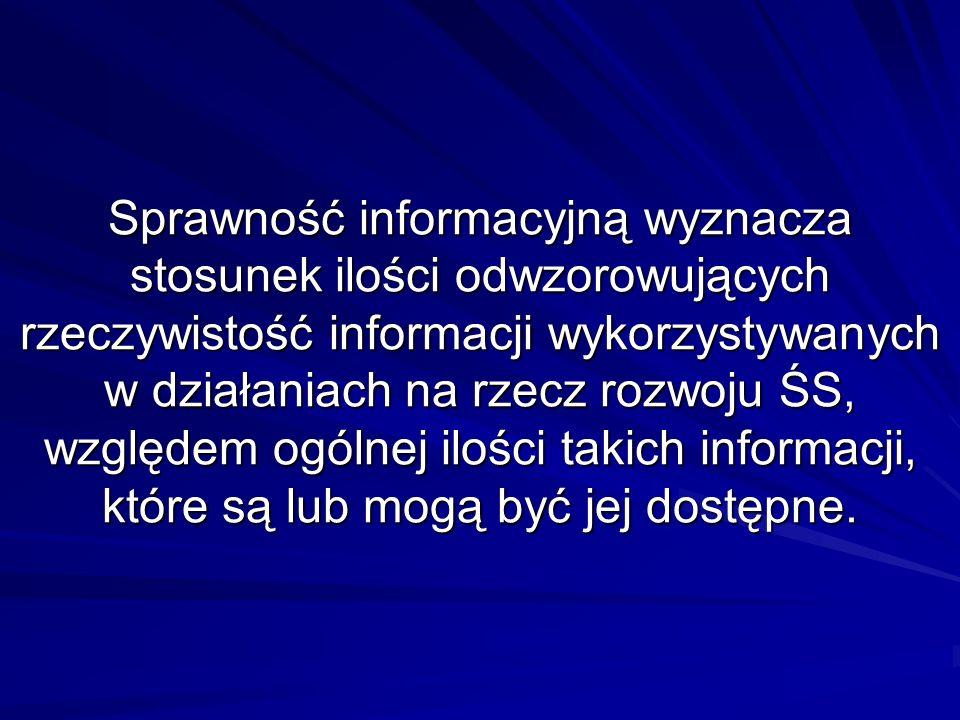 Sprawność informacyjną wyznacza stosunek ilości odwzorowujących rzeczywistość informacji wykorzystywanych w działaniach na rzecz rozwoju ŚS, względem ogólnej ilości takich informacji, które są lub mogą być jej dostępne.