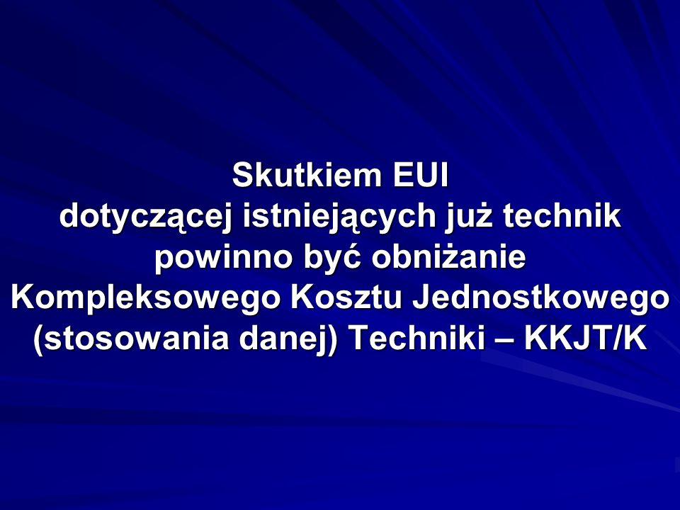 Skutkiem EUI dotyczącej istniejących już technik powinno być obniżanie Kompleksowego Kosztu Jednostkowego (stosowania danej) Techniki – KKJT/K
